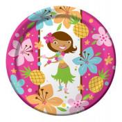 425820 Pink Luau Fun 9 Dinner Plates