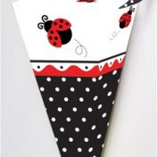 085019 Ladybug Fancy Cone-Shaped Favor Boxes with Handle