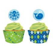 099016 Ocean Preppy Boy Cupcake Wrapper & Picks