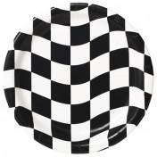 429944 Black & White Check 9 Dinner Plates