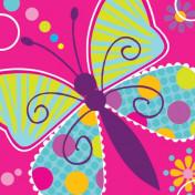 655691-Butterfly Sparkle 3-Ply Beverage Napkins