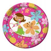 415820 Pink Luau Fun 7 Lunch Plates