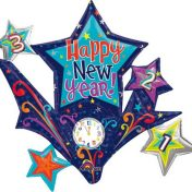 AN22815 37 Inch New Year Stars Cluster Balloon$130