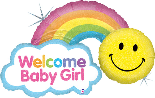 "Shape Welcome Baby Girl Rainbow Balloon 45"" - Simply Love ..."